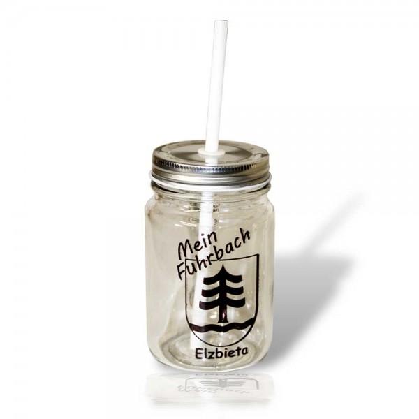 """Glas mit Deckel , """"Mason Jar"""", mit Strohhalm"""