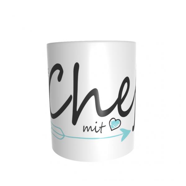"""Bedruckte Tasse """"Chef mit Herz"""" mit Wunschname"""
