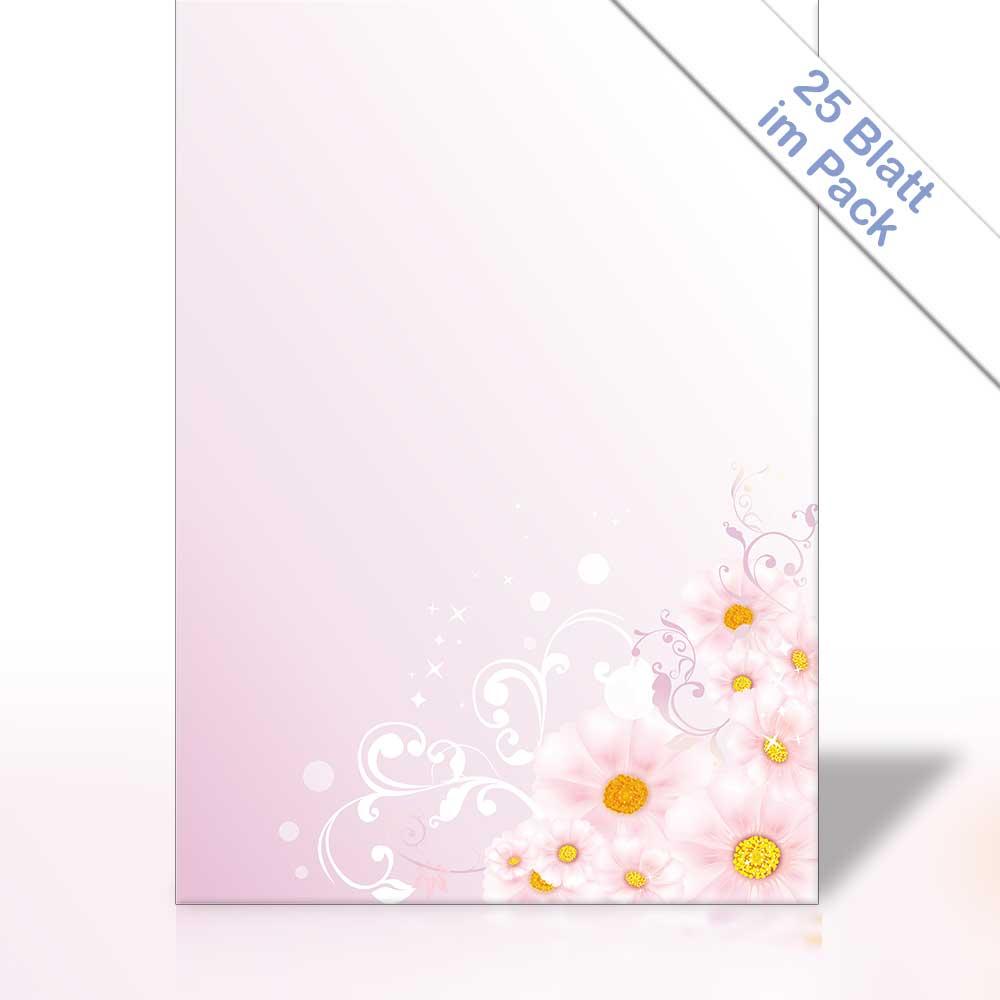 Motiv-Briefpapier BLUMEN AUF ROSA 25 Blatt DIN A4 90g//m²