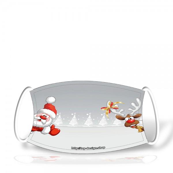 Polyestermaske X-MAS 2-lagig im Weihnachts-Design