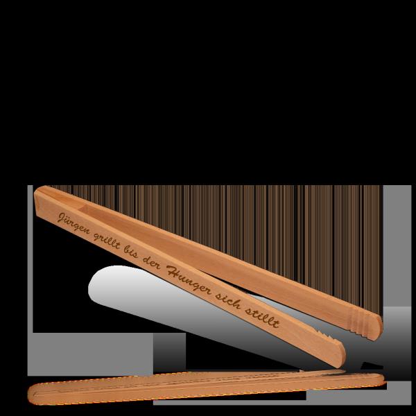 Grillzange, geleimt, aus Buche 30 cm mit Lasergravur