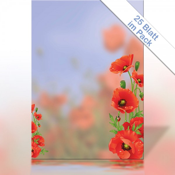 Motiv-Briefpapier Red Poppy DIN A4 90g/m²