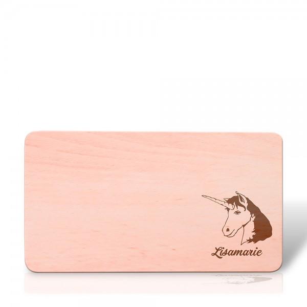 Frühstücksbrett, rechteckig aus Holz 22 cm mit Motiv Einhorn und Name