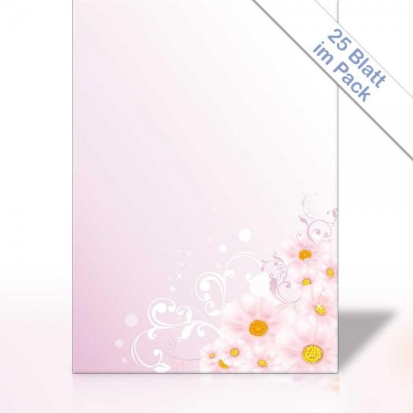 Motiv-Briefpapier BLUMEN AUF ROSA 25 Blatt DIN A4 90g/m²